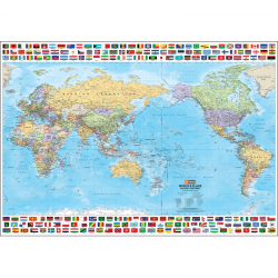 World & Flags Wall Map 9781876413804