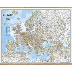 Europe Classic Wall Map on Hangers
