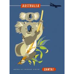 Australia Koala Vintage Travel Print