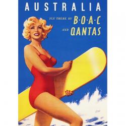 Australia Surfer Vintage Travel Print