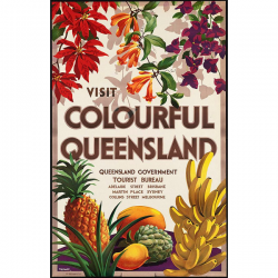 Colourful Queensland Vintage Travel Print