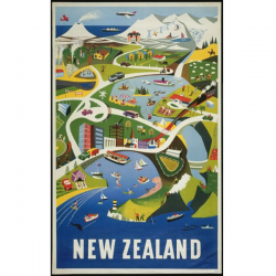 New Zealand Vintage Travel Print