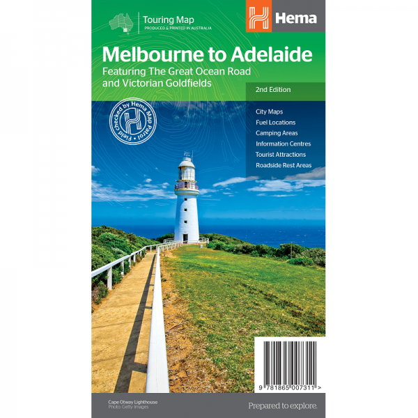 Melbourne to Adelaide Road Map 9781865007311
