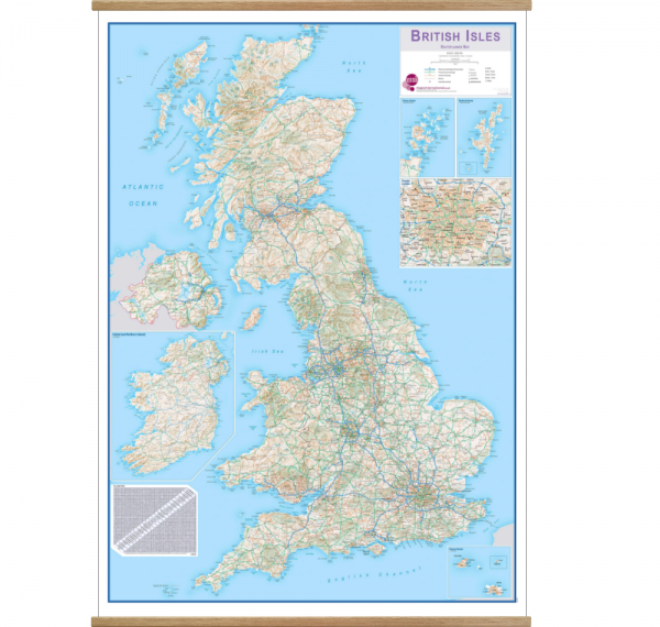 British Isles Routeplanning Wall Map on hangers