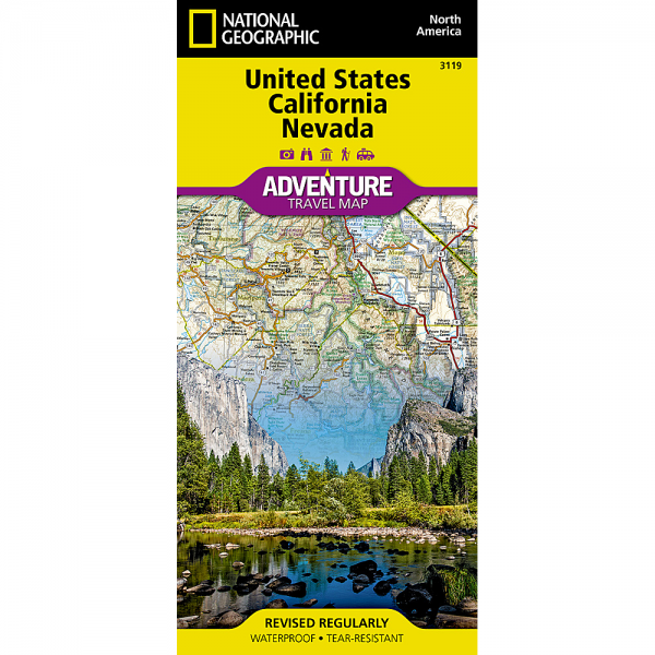 United States California Nevada Adventure Travel Map