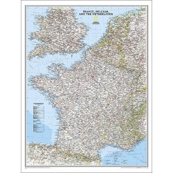 France Belgium Netherlands Classic Wall Map