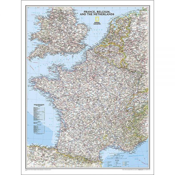 France Belgium Netherlands Classic Wall Map