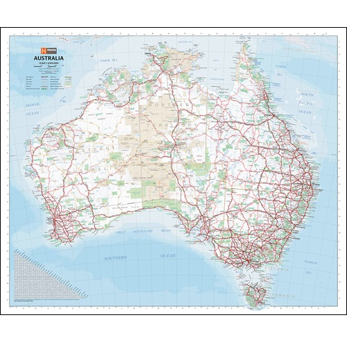 Australia Handy Laminated Wall Map