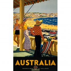 Australia Bondi Beach Vintage Travel Poster