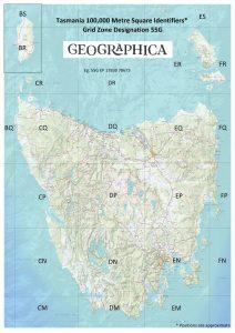 Tasmania 100,000 Square Identifier Map